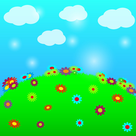 Easter background, green meadow with flowers