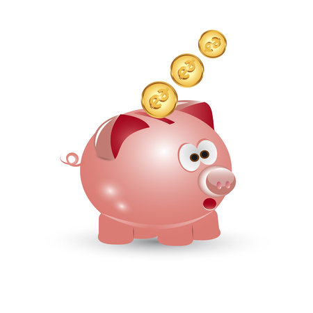 dime: Pig piggy bank icon on white background. Illustration