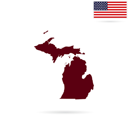 Map of the U.S. state of Michigan on a white background. American flag Illustration