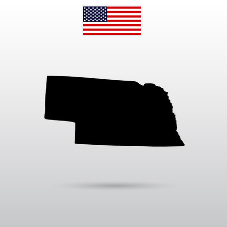 grey pattern: Map of the U.S. state of Nebraska. American flag