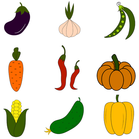 Set of vegetables icons on white background