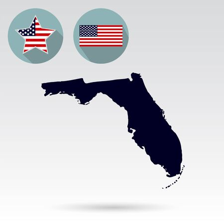 nationalism: Map of the U.S. state of Florida on a white background. American