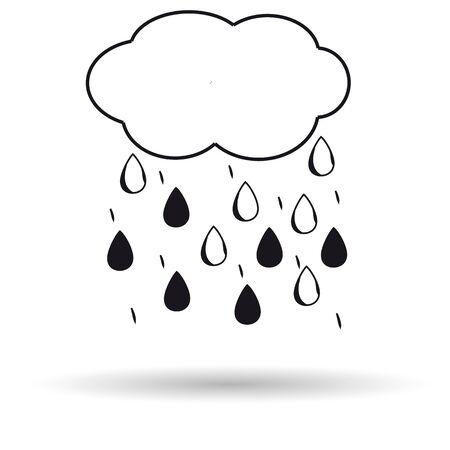雲雨アイコン白背景。ベクトルの図。