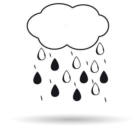 Cloud rain icon white background. Vector illustration. Illustration