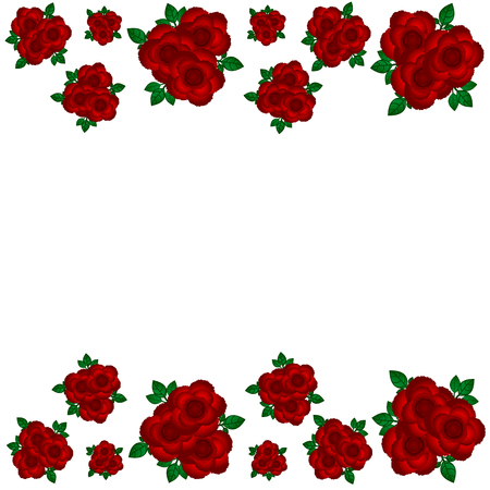 Greeting bouquets of roses at the edges Illustration