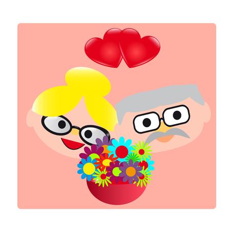 Grandparents card illustration.