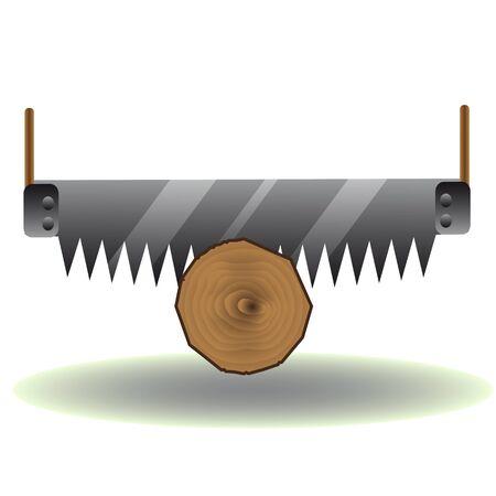 logging: Saw logs icon Illustration