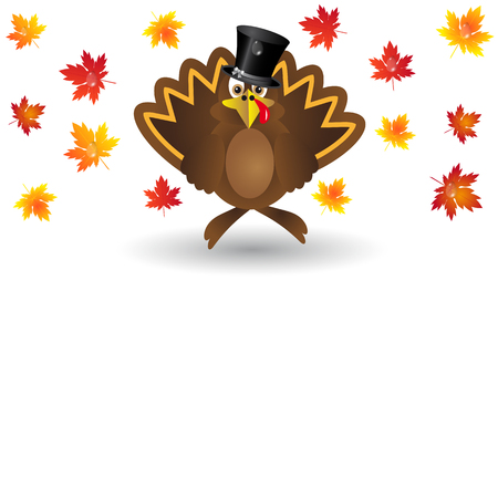 Turkey cartoon maple leaves Illustration