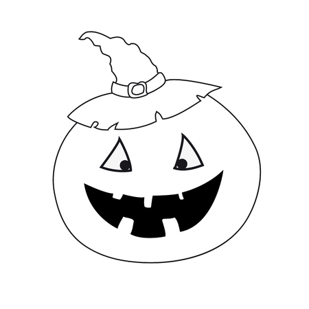 Funny pumpkin black white Illustration
