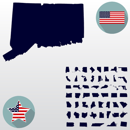 Map Of The U.S. State Of Connecticut On A White Background. Amer ...
