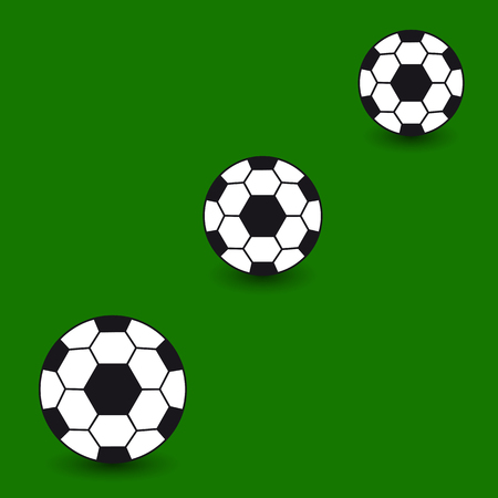Icons of a ball on a green background