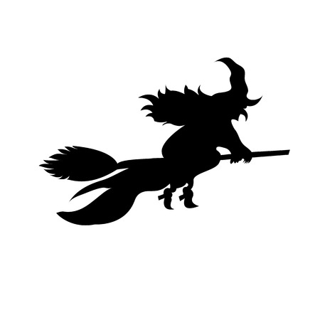 Witch on broomstick vector