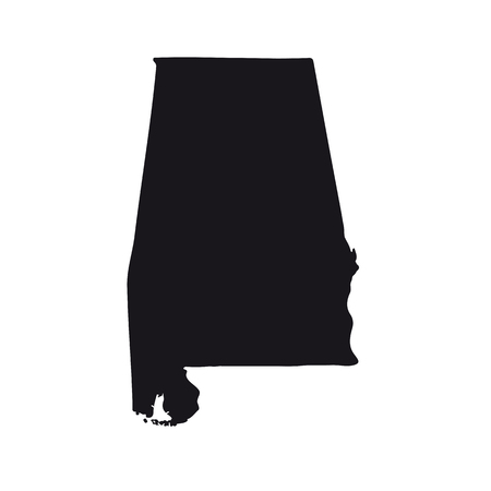 Map of the U.S. state of Alabama on a white background