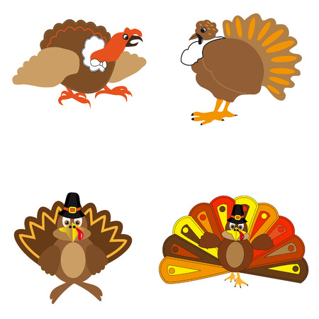 Icons turkeys on a white background to the day of Thanksgiving.