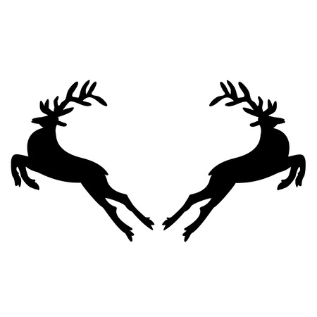 Two black deer on a white background.