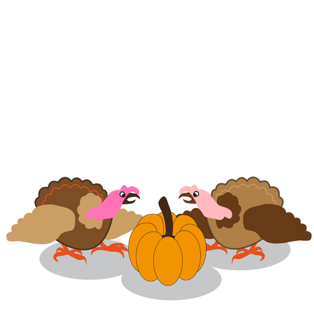 humorous: Colorful turkey and pumpkin on white background