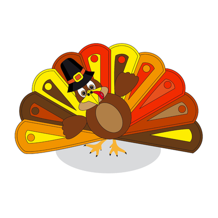 colorful turkey to Thanksgiving Day, white background.