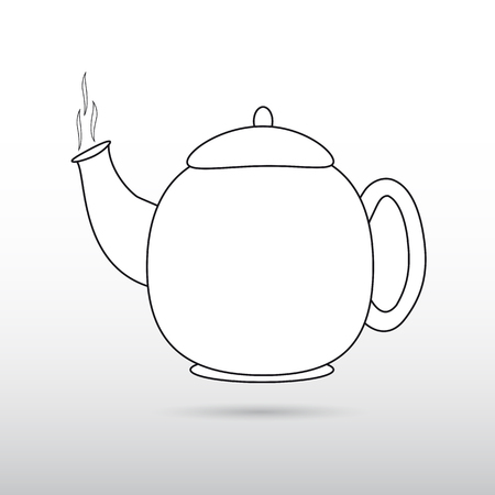 Icon teapot on a gray background. Vector illustration for your website