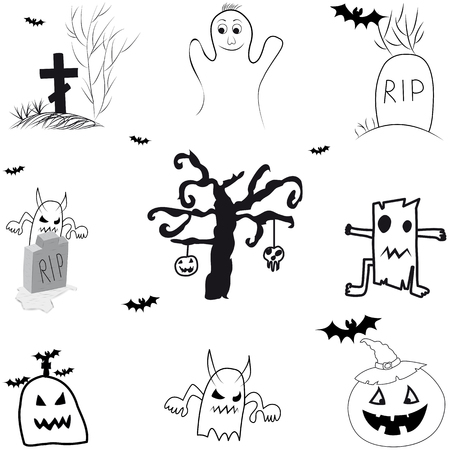Icons for halloween black on white background