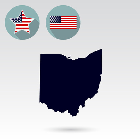 Map of the U.S. state of Ohio on a white background. American fl Illustration