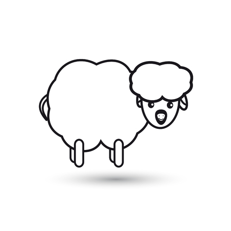 Icon of a funny lamb on a white background Illustration