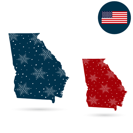 Map of the U.S. state of Georgia. Merry Christmas