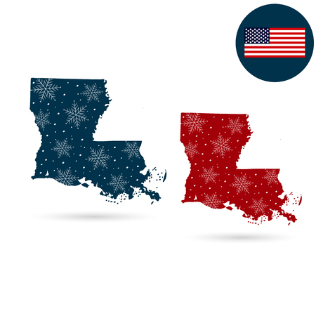 Map of the U.S. state of Louisiana. Merry christmas and a happy new year Illustration