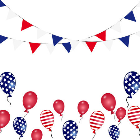 balloons american flag garland template for greeting card royalty