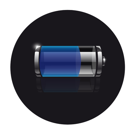 Icon battery on a black background with reflection Illustration