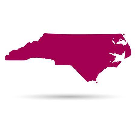 白い背景の上のノースカロライナの米国州の地図  イラスト・ベクター素材