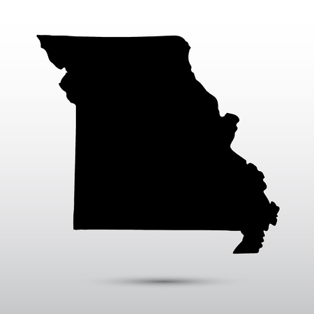 米国ミズーリ州の地図。  イラスト・ベクター素材