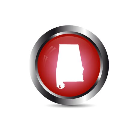 Map of Alabama on red button with silver lining  isolated on a white background.