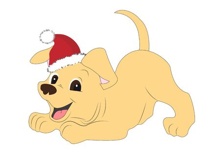 Cheerful puppy in a Santa Claus hat.