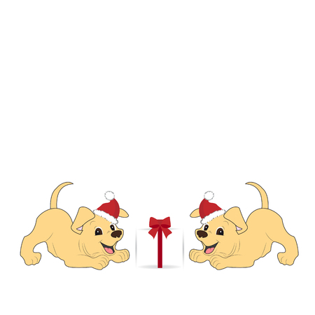 postcard box: Two dog playing with gift box. Illustration