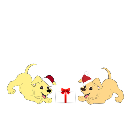 Two dog playing with gift box. Illustration