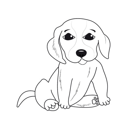 Little puppy on a white background. Year of the dog Illustration