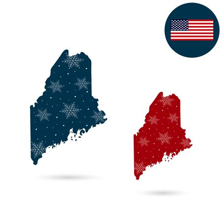 Map of the U.S. state of Maine. Merry christmas and new year