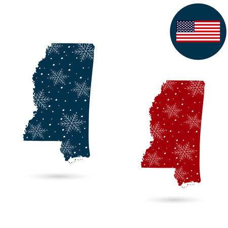 Map of the U.S. state of Mississippi. 向量圖像