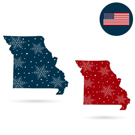 Map of the U.S. state of Missouri. Merry christmas and new year
