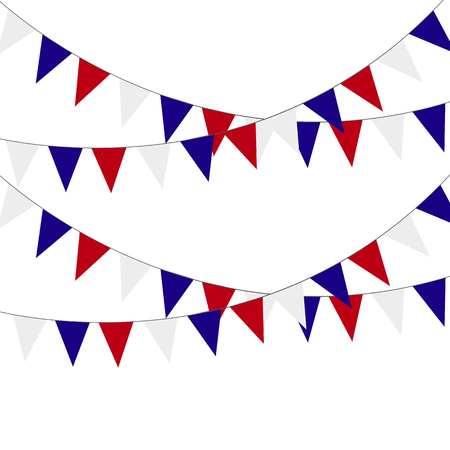 Festive bunting flags. Holiday decorations. Vector illustration.