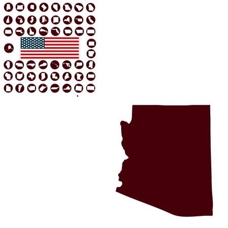 Map of the U.S. state of Arizona on a white background.