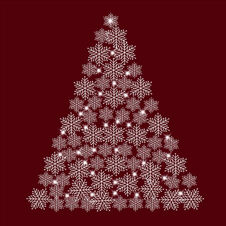 Christmas tree of white snowflakes on a red background Stock Photo
