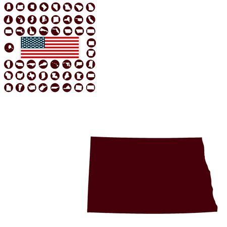 白い背景にノースダコタ州の米国の状態の地図