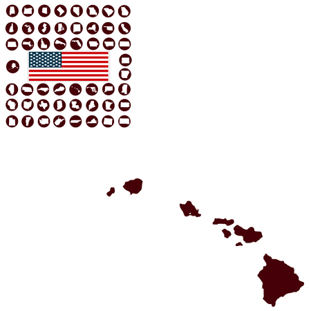 Map of the U.S. state of Hawaii on a white background