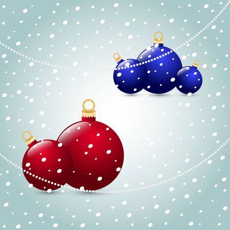 Christmas balls red blue on a snowy background Illusztráció