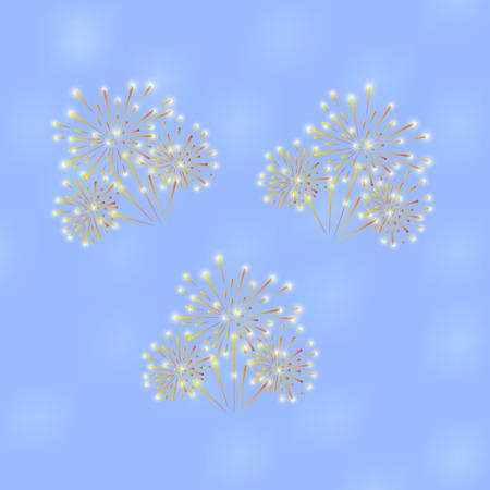 Festive fireworks on a blue background. Vector illustration Illustration