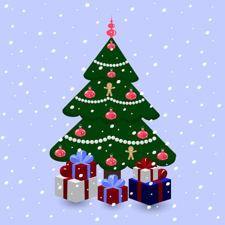 Decorated Christmas tree with gifts on a snowy background Illustration