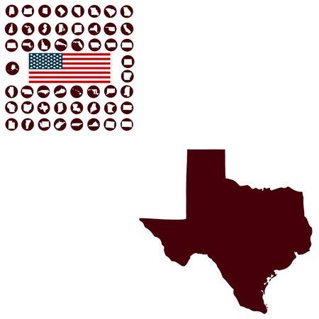 白い背景の米国テキサス州の地図  イラスト・ベクター素材