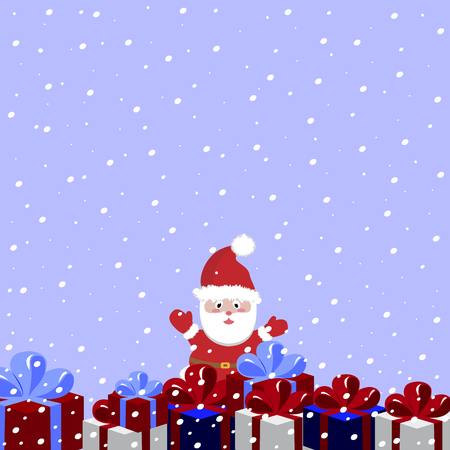 Santa Claus holding many Christmas gifts. Vector illustration