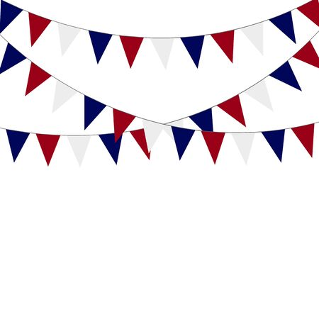Russian flag festive bunting against. Party background with flags. Vectores